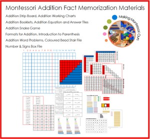 Montessori Addition Fact Memorization Material Package