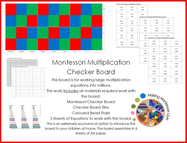 Montessori Multiplication Checker Board Materials