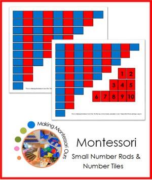 Montessori Small Number Rod Set & Number Tiles