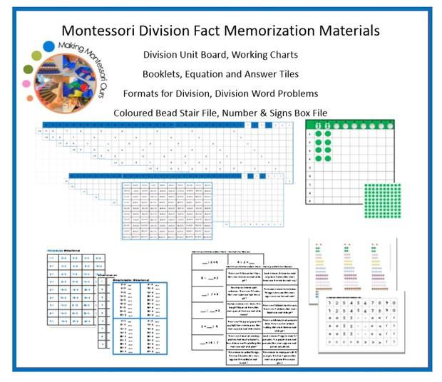 Montessori Division Fact Memorization Materials