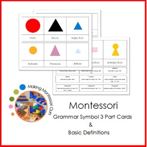 Montessori Grammar Symbol 3 Part Cards