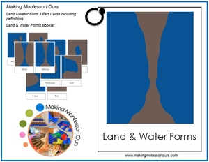 Montessori Land & Water Form 3 Part Cards with Definitions, Booklet and instructions