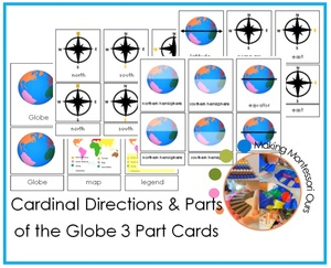 Cardinal Directions, Compass & Parts Of The Globe 3 Part Cards