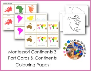 Continents 3 Part Cards & Continent Colouring Pages