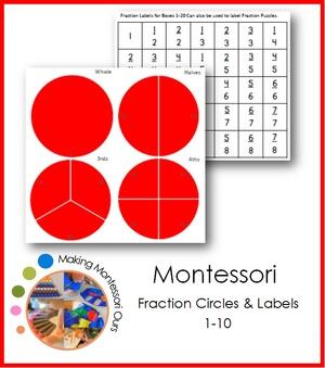 Montessori Fraction Circles 1-10 & Labels