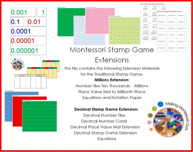 Montessori Stamp Game Extensions Million and Decimal