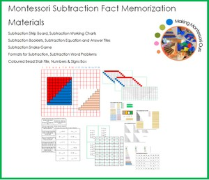 Montessori Subtraction Fact Memorization Materials Package