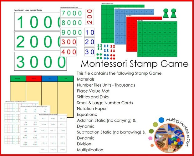 Montessori Stamp Game Materials