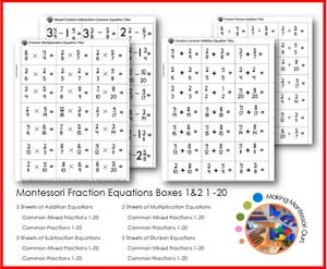 Montessori Fraction Equation Cards