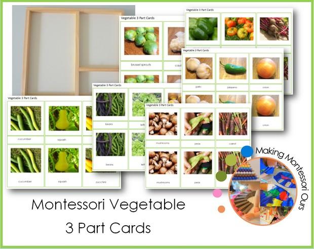 Montessori Vegetable 3 Part Cards