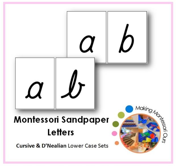 Montessori Cursive & D'nealian Sandpaper Letters