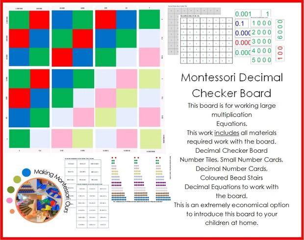Montessori Decimal Checker Board