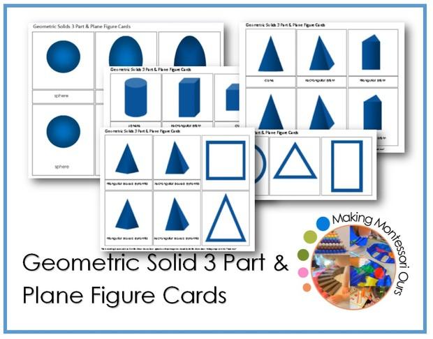 Montessori Geometric Solid 3 Part & Plane Figure Cards
