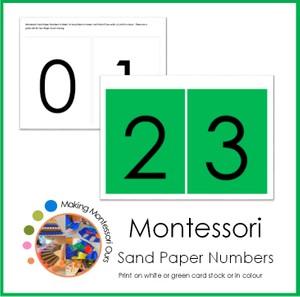 Montessori Sandpaper Number Cards