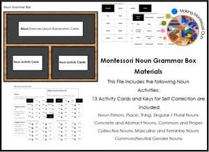 Montessori Grammar Box Materials - Noun