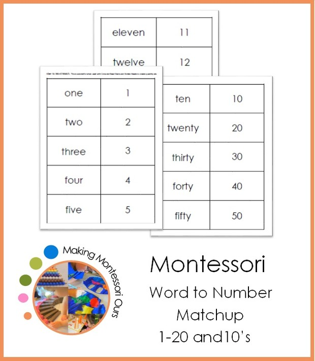 Montessori Number to Word Match Up
