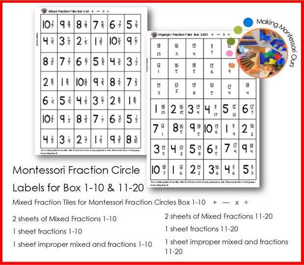 Montessori Fraction Labels