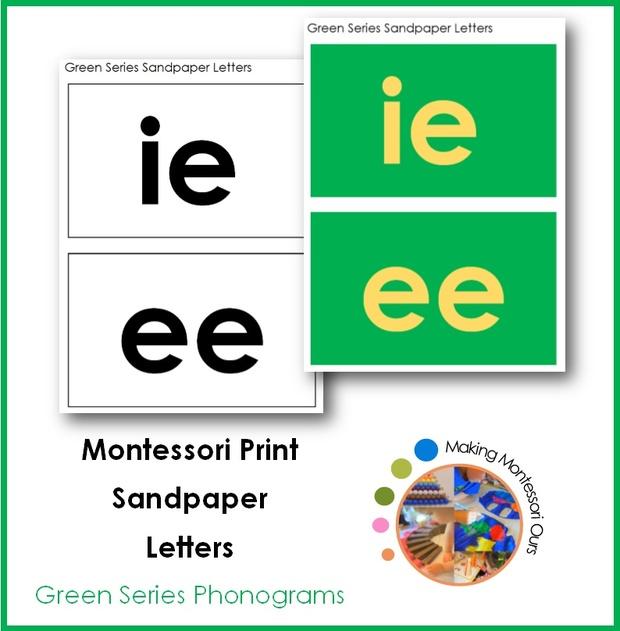 Montessori Phonogram Green Series Sandpaper Letters