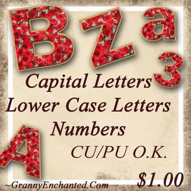 Granny Enchanted Red Rose Alphabet and Numbers