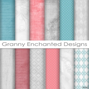 12 Digital Papers - Teal, Gray, and Pink/Red Digital Backgrounds / Scrapbook Paper (002)