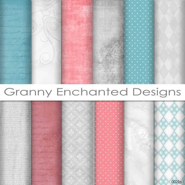 12 Digital Papers Teal Gray And Pinkred Digital B