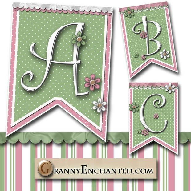 Tea Rose 44 Banner Alphabet from Granny Enchanted