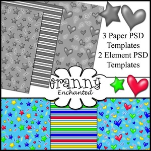 """Party Basics"" 3 Paper and 2 Elements Templates CU/PU/S4H"