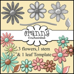 3 Flower Templates with Leaf and Stem CU/PU/ S4H