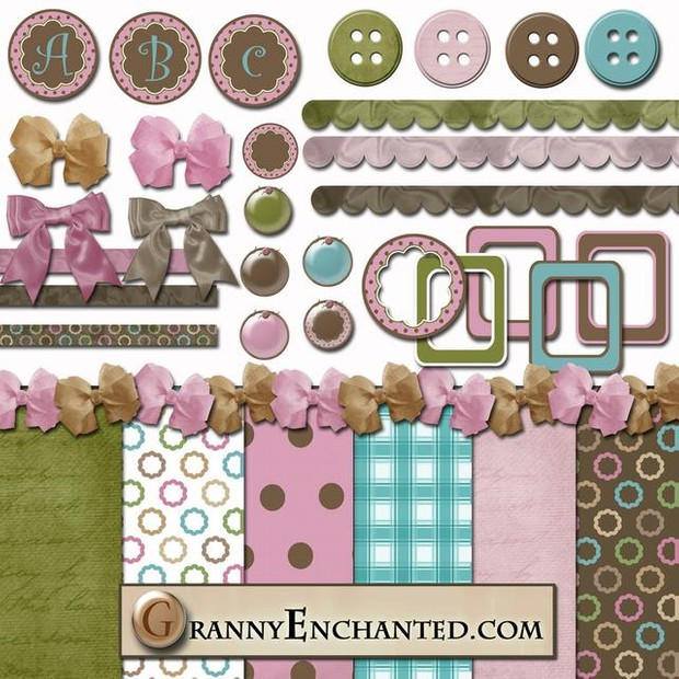 Strawberry Coco Digi Scrapbook Kit 40 From Granny Enchanted