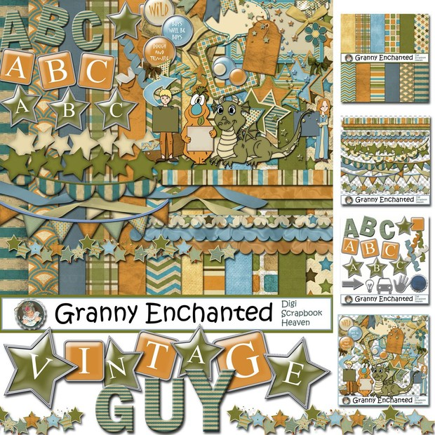 Vintage Guy Digital Scrapbook Mega Kit (70)