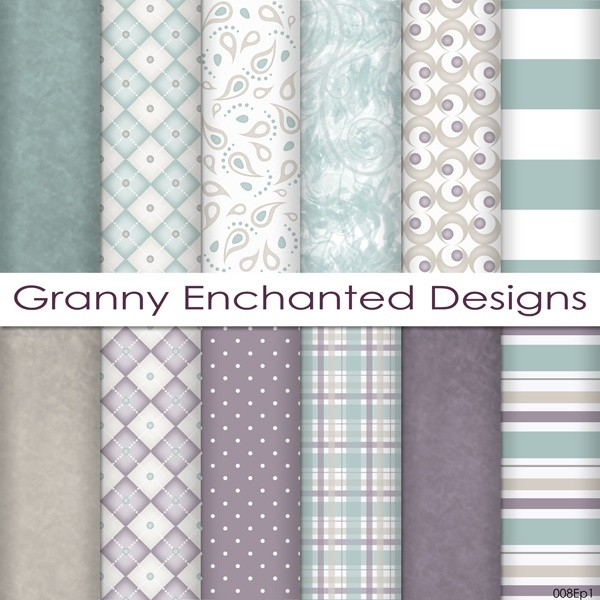 Plum City: 12 Digital Papers– in Teal, Plum, and Taupe Patterns for Scrapbook (008p1)