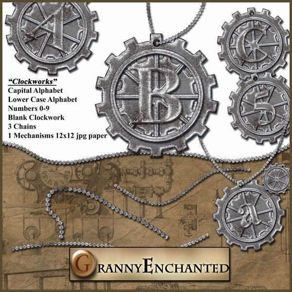 Clockworks Alphabets, numbers, chains and paper CU/PU/S4H