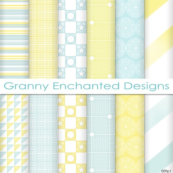 Summer Morn: 12 Digital Papers– in Teal, Blue and Yellow Scrapbook Patterns (009p1)