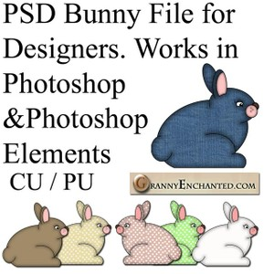 Photoshop Elements PSD Bunny File for Designing