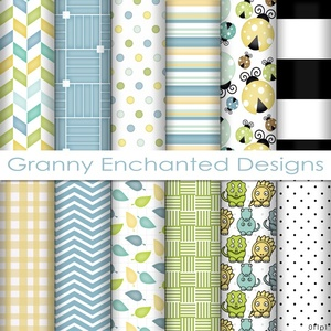 Lady Bug Paper Pack: 12 Digital Papers– in Blue, Green, Yellow, and Black Scrapbook Patterns (011p1)