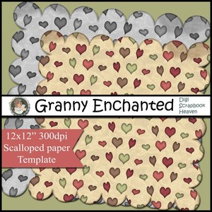 """Berry Brown"" Scalloped Heart Paper Template CU/PU/S4H"