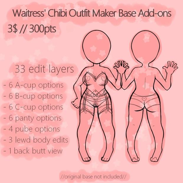 Waitress' Chibi Outfit Maker Add-ons