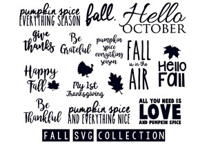 fall collection with monogram fonts set svg cut files bundle silhouette and cricut downloads