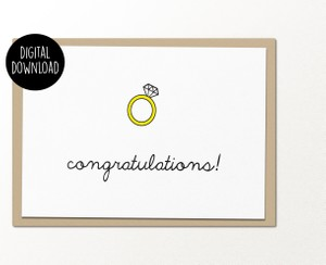 Congratulations ring engagement printable greeting card