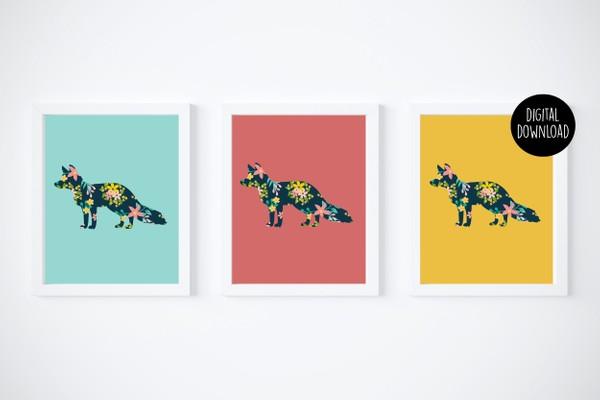 fox floral printables digital download // 8x10 // printable wall decor