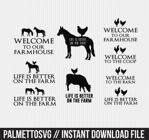 farm collection over 50+ filesclip art svg dxf cut file silhouette cameo cricut download
