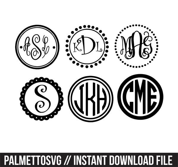 circle monogram frames with 10+ monogram svg silhouett