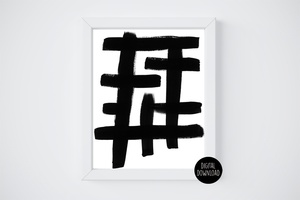 abstract black and white acrylic panting // 8x10 // printable digital download