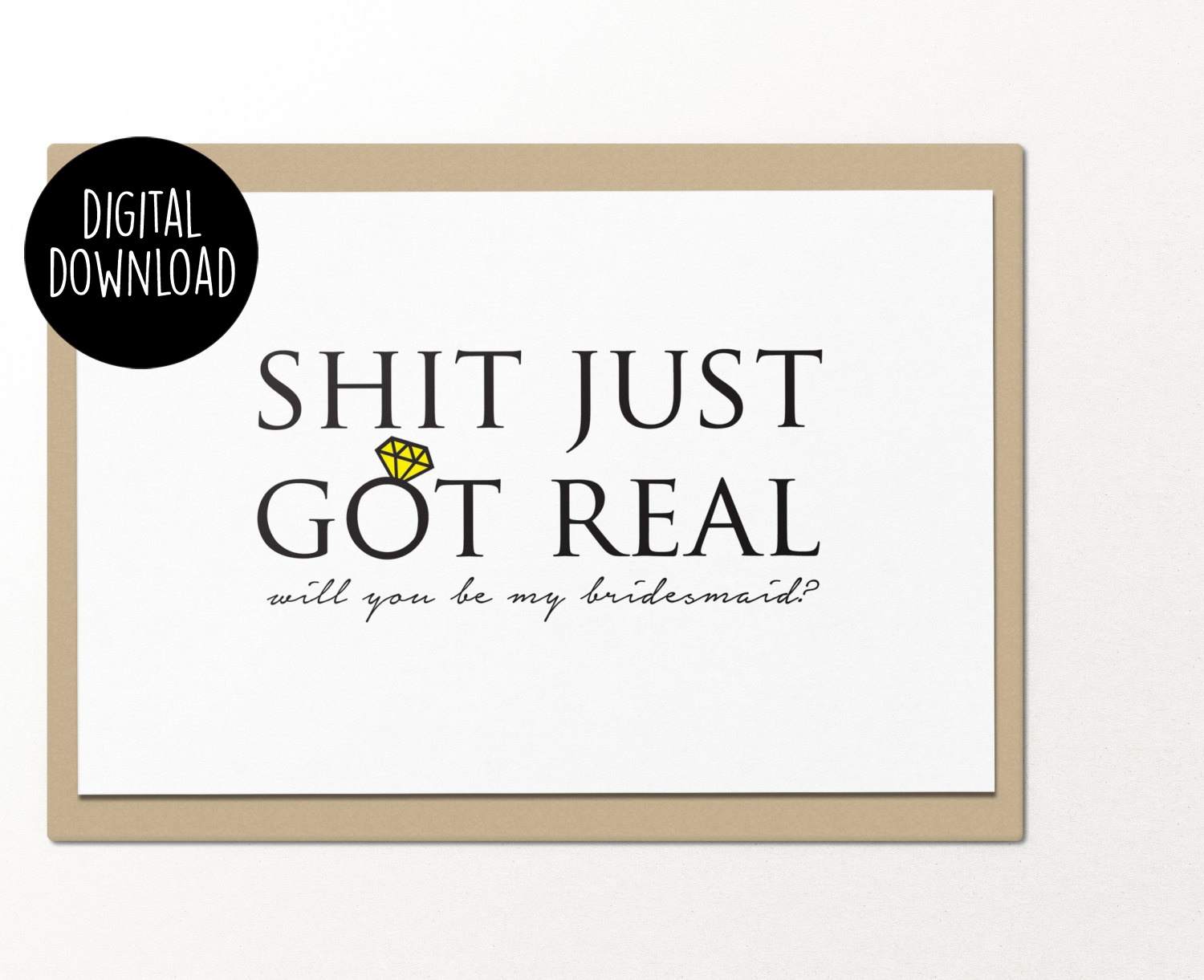 photo about Will You Be My Bridesmaid Printable called Shit simply acquired accurate will oneself be my bridesmaid printable greeting card