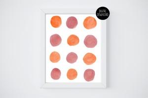 orange and brown watercolor circles painting // 8x10 // printable digital download