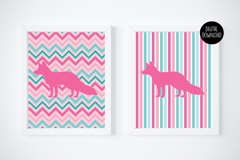 Fox Chevron Stripes Printable Art Wall Decor Girls Nursery Wall Art