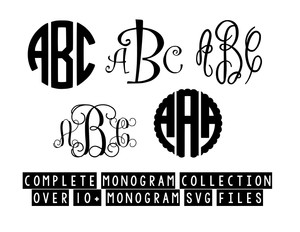 complete svg monogram collection over 10+ monogram files for silhouette cricut