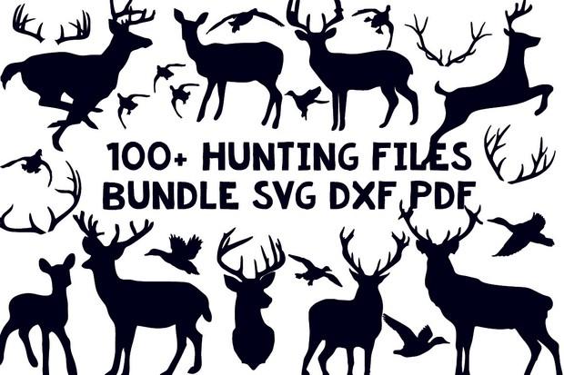 100+ hunting files bundle svg dxf clip art silhouette cameo cricut