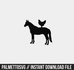 horse chicken farm animals clip art svg dxf cut file silhouette cameo cricut download