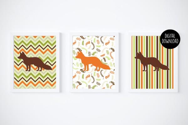 fox fall printables digital download // 8x10 // printable wall decor
